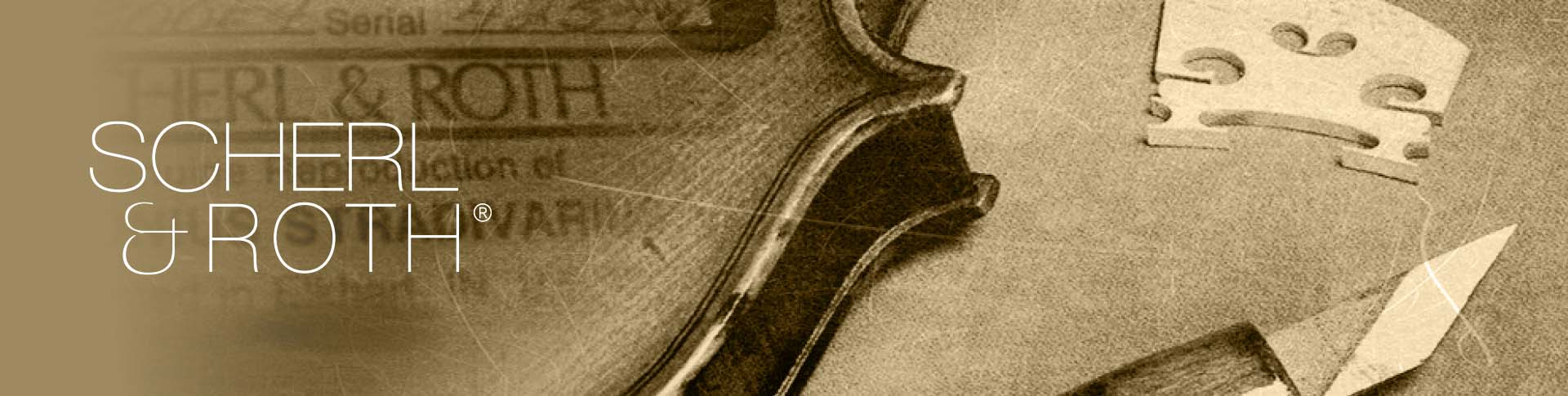 Scherl and Roth logo on top of violin pieces